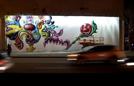 Kenny Scharf replaces the Barry Mcgee, Dash Snow tribute at Houston and Bowery