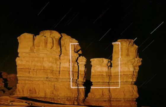 Long Exposure Light Projections by Jim Sanborn