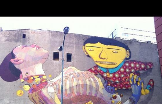 Os Gemeos and Aryz completed mural in Poland