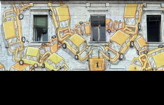 Chain-Linked Cars Mural by Blu in Italy