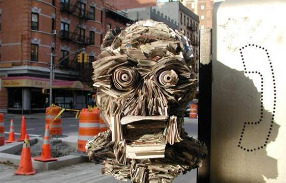 Newspaper Sculptures and Installations by NYC's Nick Georgiou