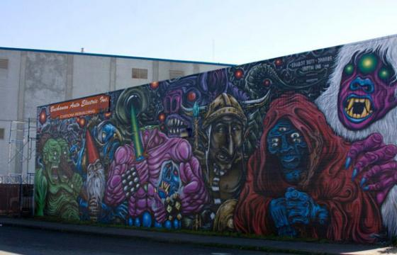 Skinner, Griffin One, and Ernest Doty mural in Oakland