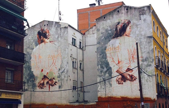 Diptych mural by Borondo in Tetuán, Madrid