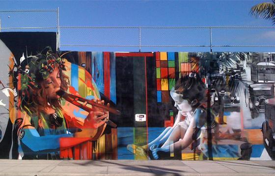 Eduardo Kobra Mural in Progress in Miami