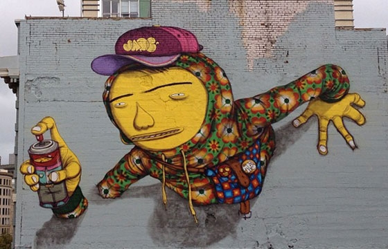 Os Gemeos repaints roof in San Francisco