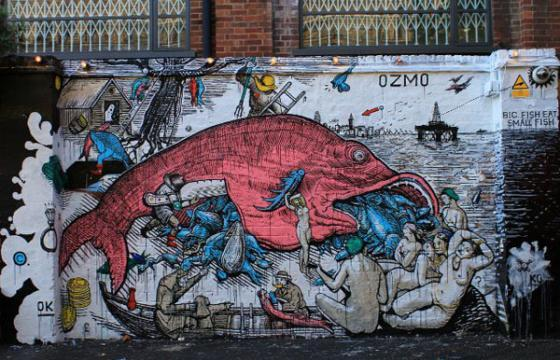 In Street Art: Big Fish Eat the Little Ones