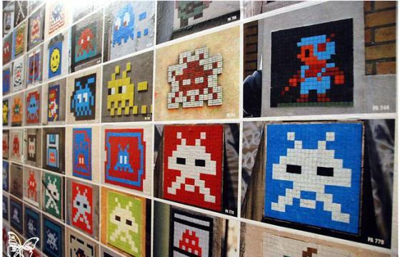 "Photos from Space Invader ""INVADER 1000? Exhibition in Paris"