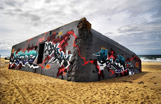 Sandy graffiti scenery