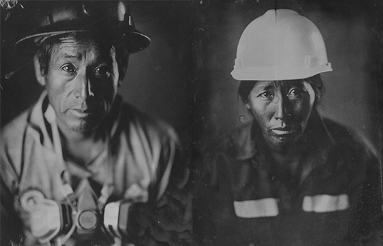 Photographing Miners With Mining Materials