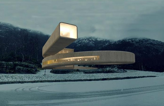 Winding Concrete Cultural Center in Norway