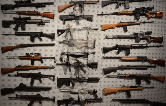 Liu Bolin's Gun Rack Performance