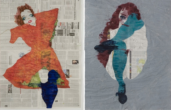 Newsprint Paintings by Gabriel Vormstein