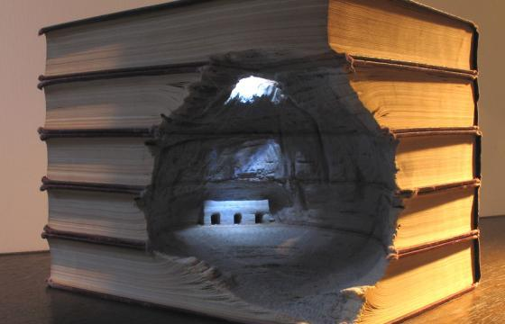 Carved Landscapes in Books by Guy Laramee