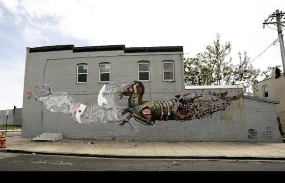Pixel Pancho & Never2501 Mural in Baltimore