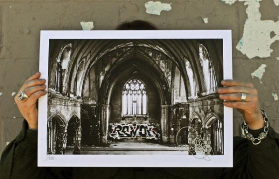 "New Print ""Sacrilege"" from Revok in support of The Detroit Beautification Project"