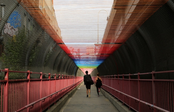 HOTTEA Transforms Williamsburg bridge walkway into Rainbow tunnel