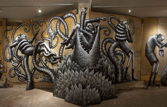 "Photos from Phlegm's ""The Bestiary"" @  Howard Griffin Gallery"