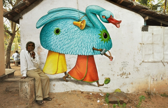 Multiple murals painted by AEC of Interesni Kazki in India
