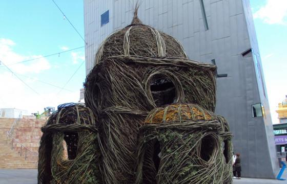 "Patrick Dougherty's ""Ballroom"" outside Melbourne's Federation Square"