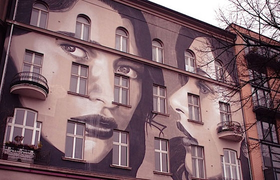 Rone paints three images of a women in Berlin
