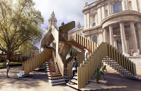 "MC Escher-inspired ""Endless Stair"" @ St. Paul's Cathedral, London"