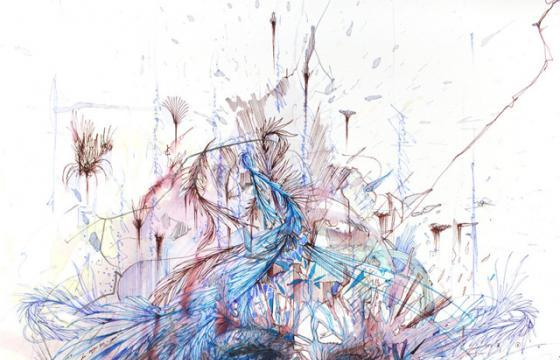 New works with tea, liquor, and coffee by Carne Griffiths